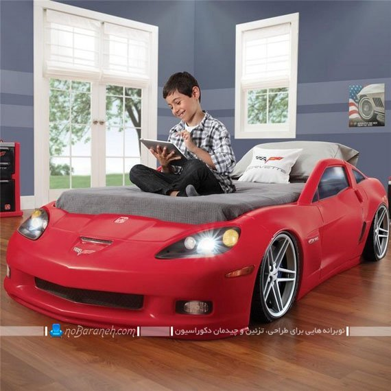 تخت کودک ماشین پسرانه با رنگ قرمز