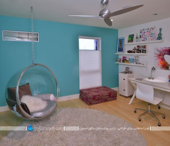 مدل صندلی ننو آویزان برای دکوراسیون اتاق نوجوانان