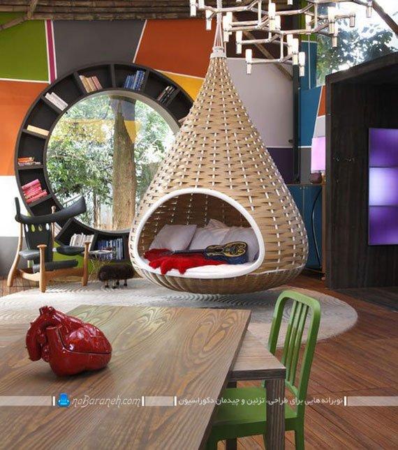 صندلی حصیری زیبا و تزیینی نصب شده از سقف