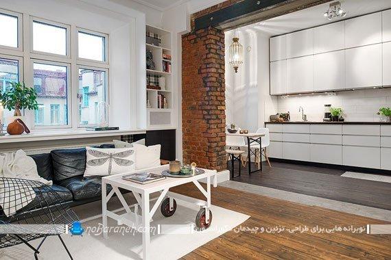 دیزاین شیک اتاق پذیرایی و آشپزخانه