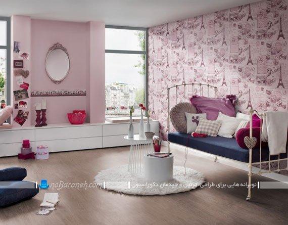 کاغذ دیواری اتاق کودک با طرح دخترانه / عکس