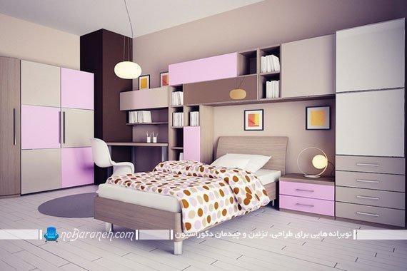 اتاق خواب دخترانه دیزاین شده با بنفش / عکس