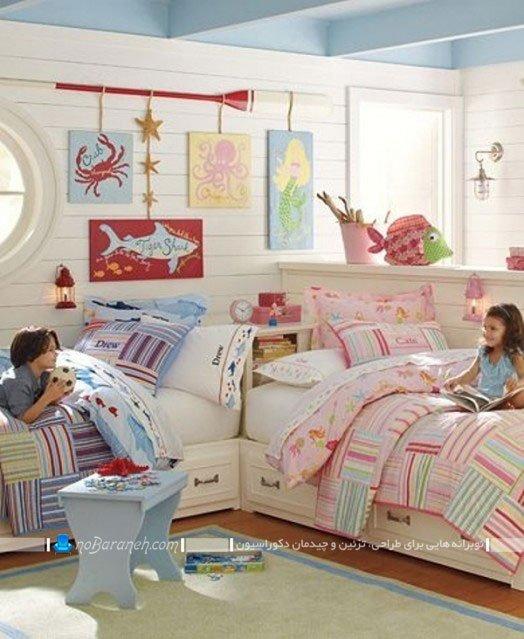 دکوراسیون اتاق خواب دو تخته خواهر و برادر دوقلو