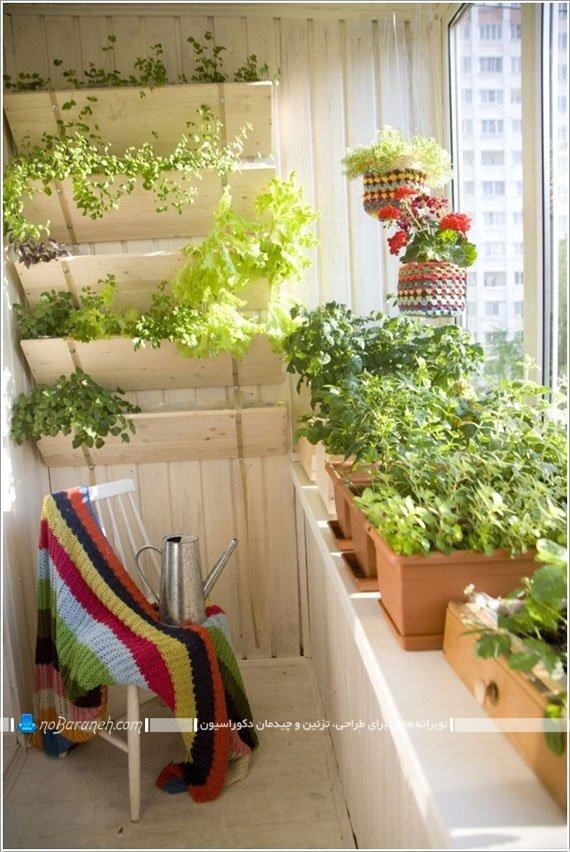 تزیین و دیزاین فضای داخلی بالکن و تراس با گلدان های طبیعی سرسبز / عکس