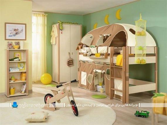 تخت خواب کودک دو طبقه نردبان دار برای تزیین اتاق پسر بچه ها. سرویس خواب کودک پسر در مدل های جدید شیک مدرن فانتزی دو طبقه نردبان دار.