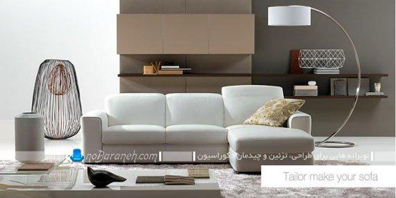 کاناپه کوچک چرمی و سفید رنگ