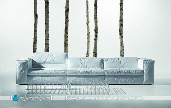مبلمان راحتی ایتالیایی سفید به شکل کاناپه