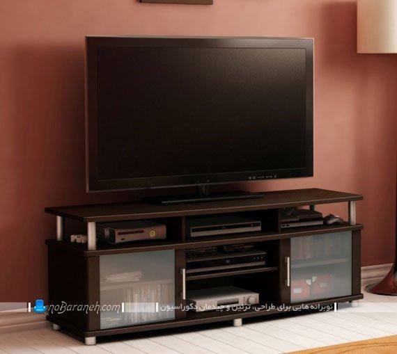 میز تلویزیون کلاسیک با ستون های استیل