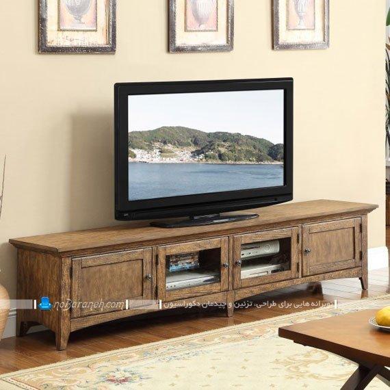 مدل میز تلویزیون چوبی کلاسیک با ارتفاع کم
