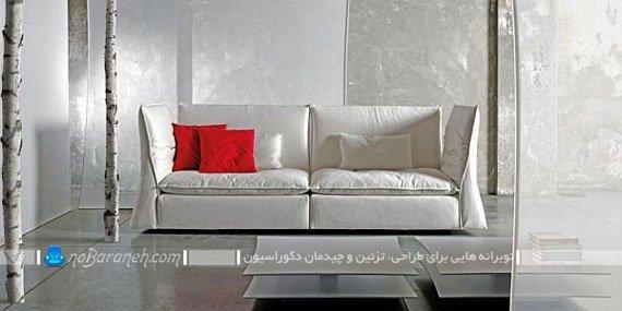 کاناپه شیک و مدرن ایتالیایی با رنگ سفید / عکس