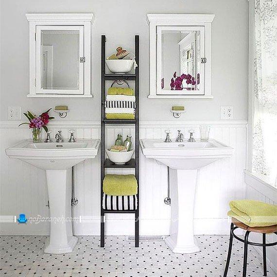 قفسه چوبی حمام و دستشویی / عکس