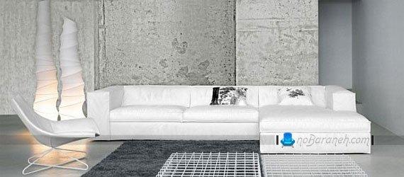 کاناپه راحتی سه نفره سفید رنگ / عکس