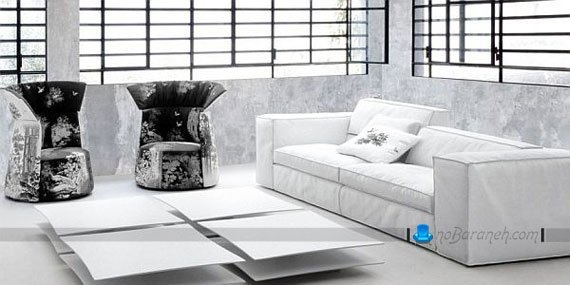 کاناپه راحتی ساده سفید رنگ با میز جلو مبلی مدرن