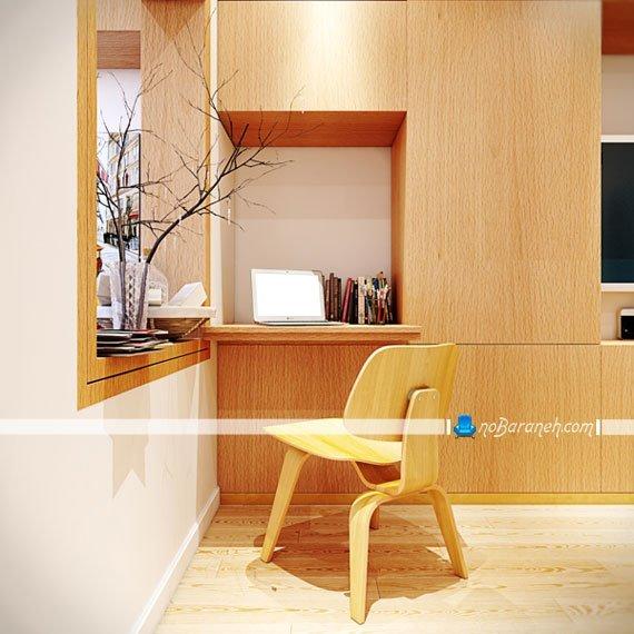 مدل میز تحریر و لپ تاپ کوچک چیدمان شده در خانه کوچک