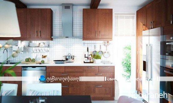 کاشی های سفید رنگ شبکه ای و مربع شکل برای آشپزخانه