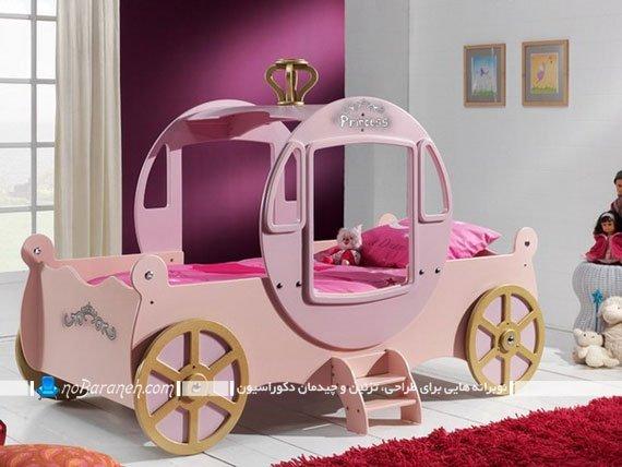 تخت خواب پرنسسی کودک دختر به شکل کالسکه فانتزی شیک مدرن. مدل های جدید تخت کودک دختر با رنگ صورتی.