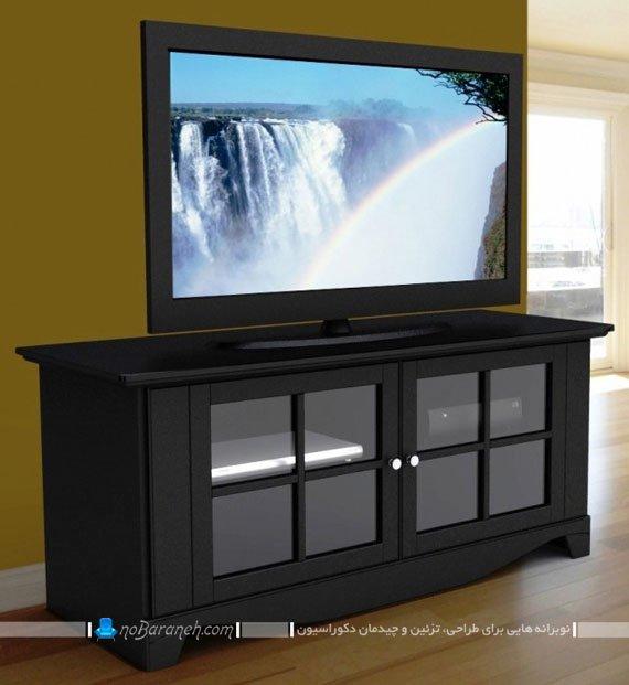 میز تلویزیون چوبی طرح پنجره دار