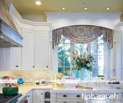 تزیین پنجره آشپزخانه با پرده های کوتاه