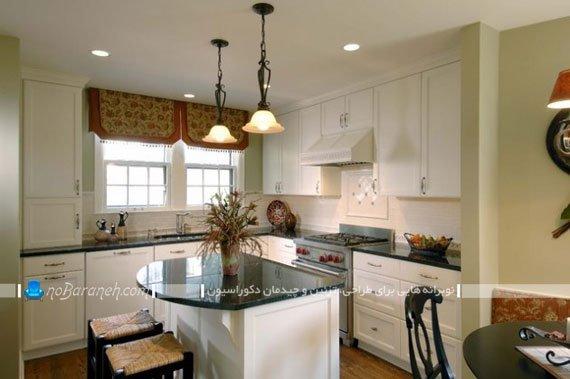 پرده آشپزخانه به شکل شید رول و والان فانتزی
