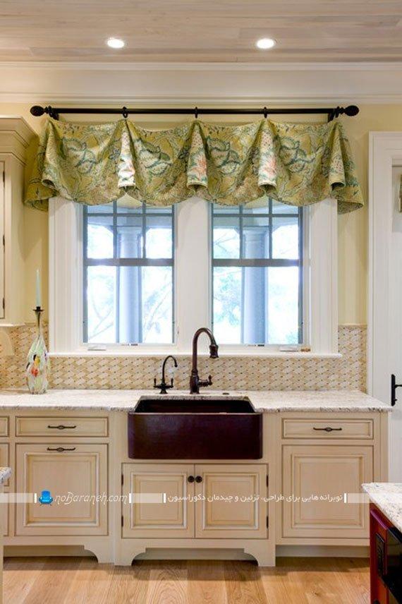 والان پرده سبز رنگ برای پنجره آشپزخانه / عکس