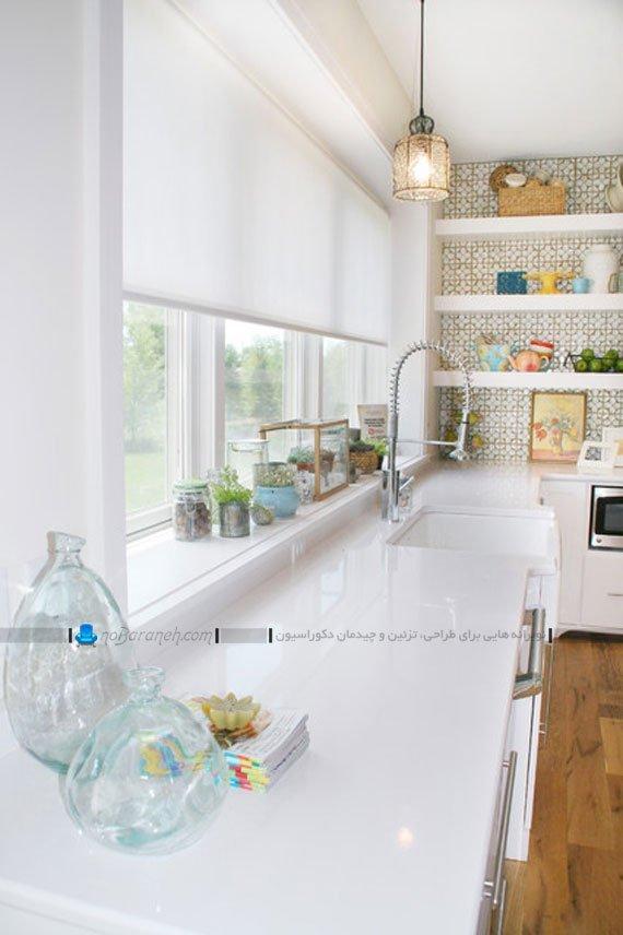 پرده رول شید آشپزخانه با رنگ سفید ساده