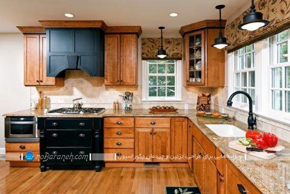 پرده عمودی آشپزخانه شید رول برای آشپزخانه کلاسیک