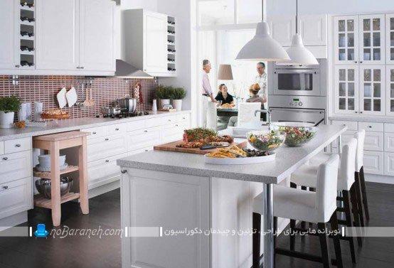 میز جزیره ای سفید رنگ و جادار / عکس