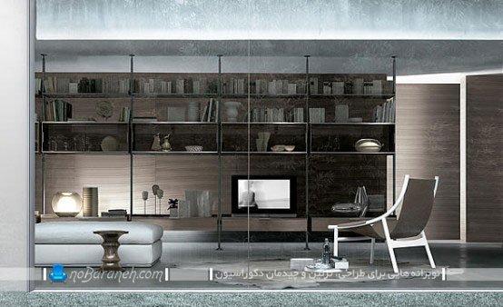 مدل کتابخانه خانگی با فضای چیدمان تزیینات و تلویزیون
