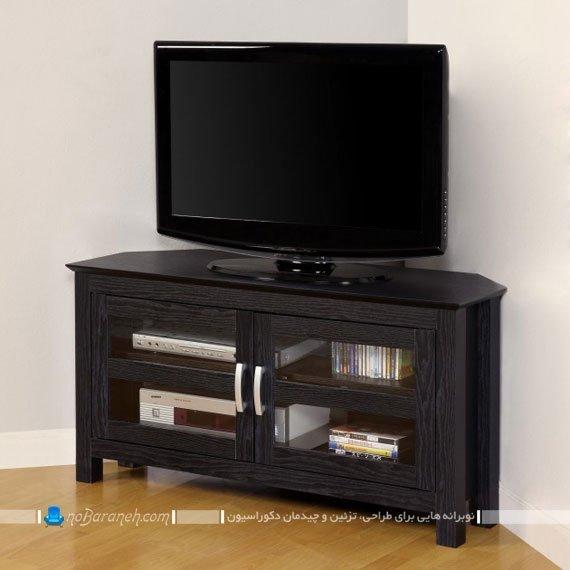 میز تلویزیون کلاسیک چوب و شیشه