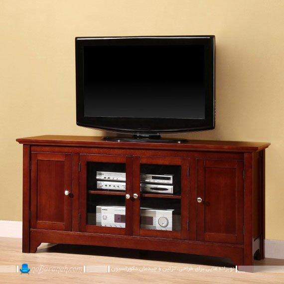 میز تلویزیون چوبی و شیشه ای کلاسیک / عکس