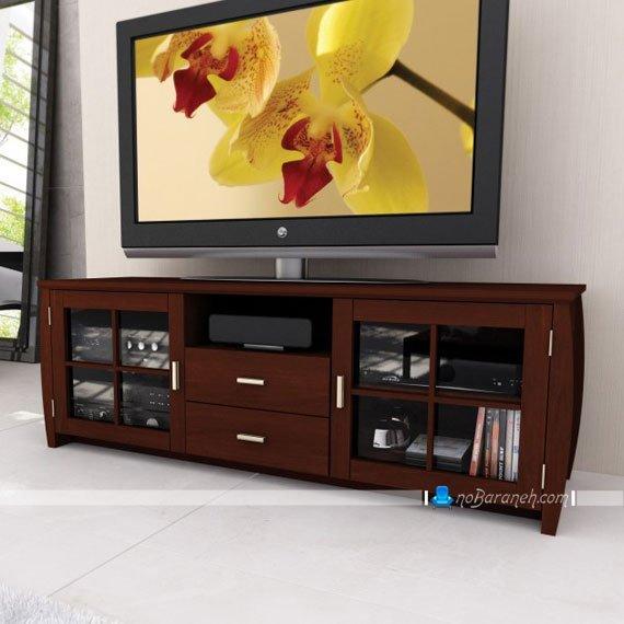 میز تلویزیون کلاسیک چوب و شیشه عریض و کشیده