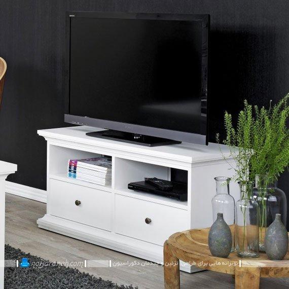 میز تلویزیون کلاسیک و سفید ساده