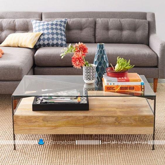 میز جلو مبلی کشودار چوبی و شیشه ای میز عسلی بین مبلی کنار مبلی