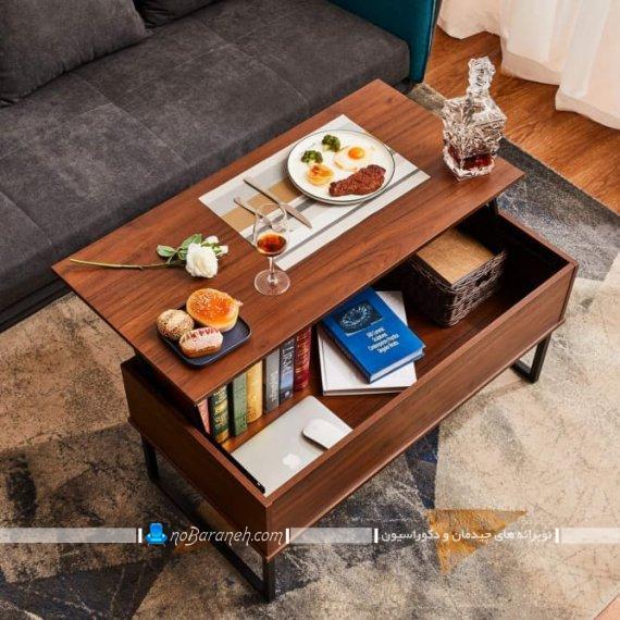 میز بین مبلی چوبی تبدیلی به غذاخوری. مدل شیک مدرن زیبا جدید میز جلو مبلی چوبی میز عسلی بین مبلی کنار مبلی