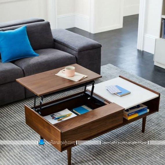 میز پذیرایی تبدیلی به میز قهوه خوری شیک مدرن مدل جدید عکس میز عسلی بین مبلی کنار مبلی