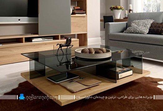 میز جلو مبلی چوبی و شیشه ای