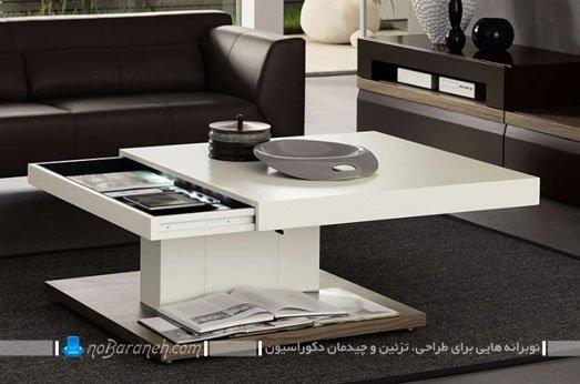 میز جلو مبلی مدرن ام دی اف با رویه متحرک و کشویی