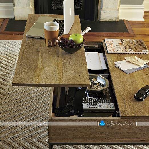 میز جلو مبلی جادار چوبی با طراحی کمجا