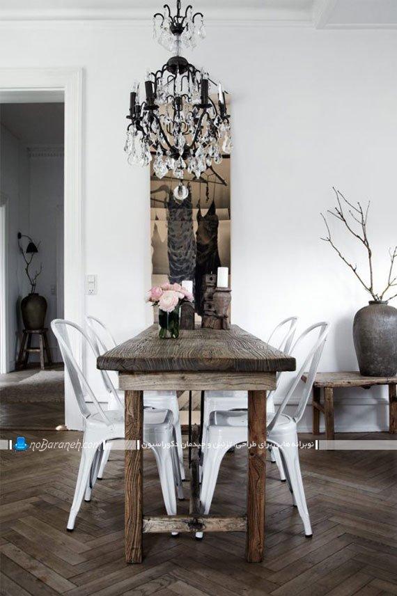میز ناهارخوری چوبی با صندلی پلاستیکی