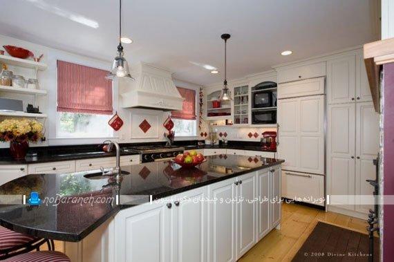 مدل پرده عمودی آشپزخانه با رنگ صورتی و قرمز