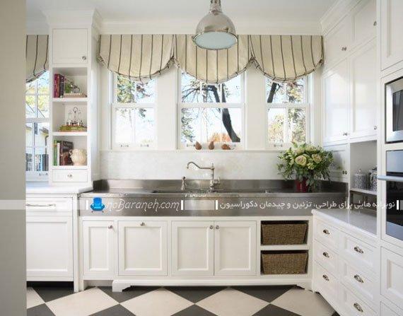 تزیین پنجره آشپزخانه با مدل جدید والان پرده / عکس