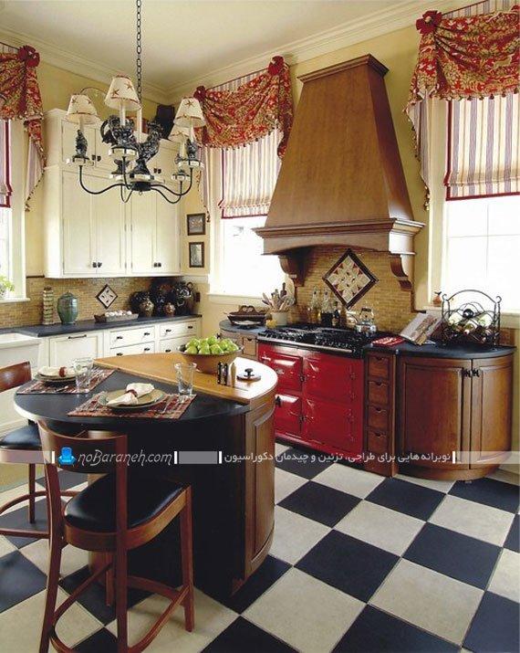 مدل جدید پرده آشپزخانه با طرح راه راه و گل دار / عکس