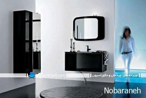 مدل روشویی دیواری با کابینت و آینه