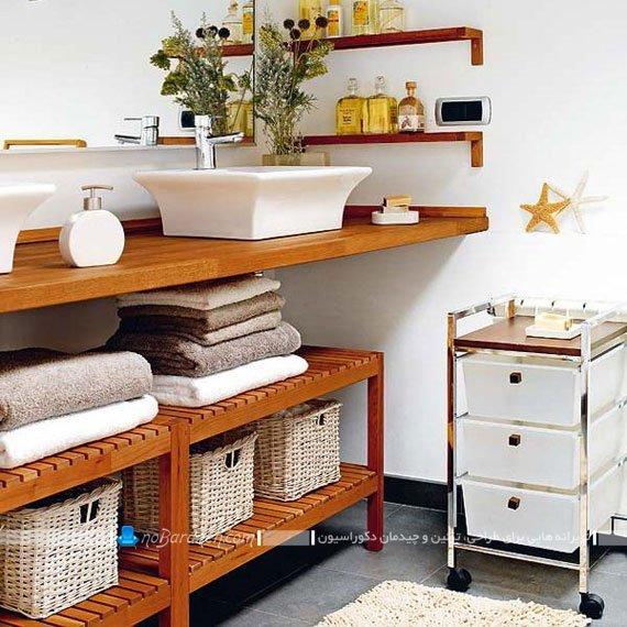 قفسه بندی چوبی برای حمام و روشویی / عکس