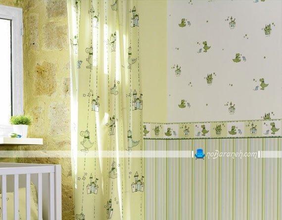 کاغذ دیواری اتاق کودک پسر با رنگ بندی سبز