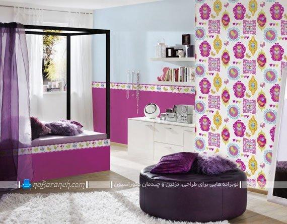 کاغذ دیواری دخترانه با رنگ بندی بنفش و صورتی