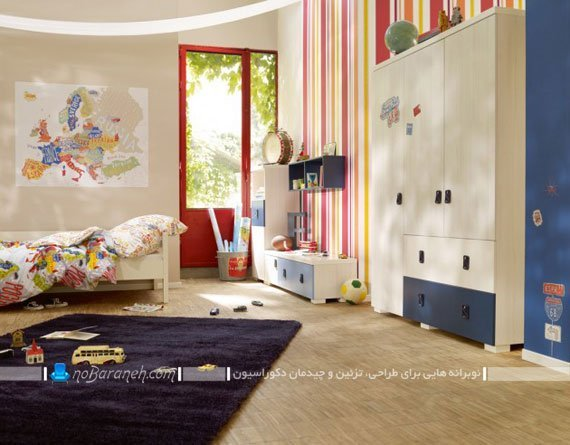 کاغذ دیواری اتاق بچه با طرح راه راه / عکس