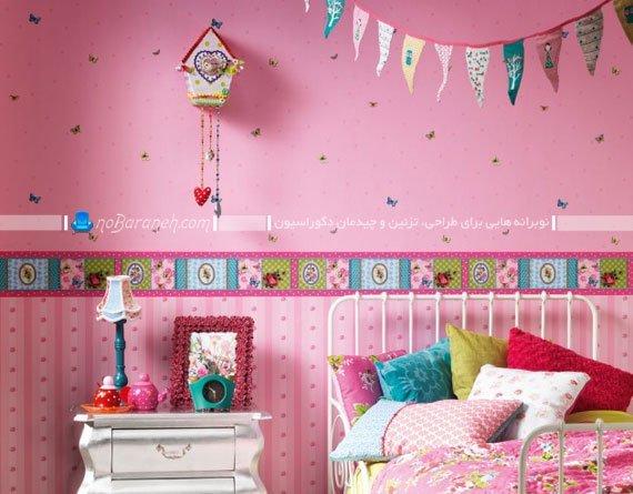 کاغذ دیواری اتاق کودک دختر با رنگ صورتی