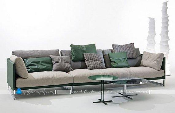 کاناپه شیک و مدرن با رنگ بندی سبز و خاکستری / عکس
