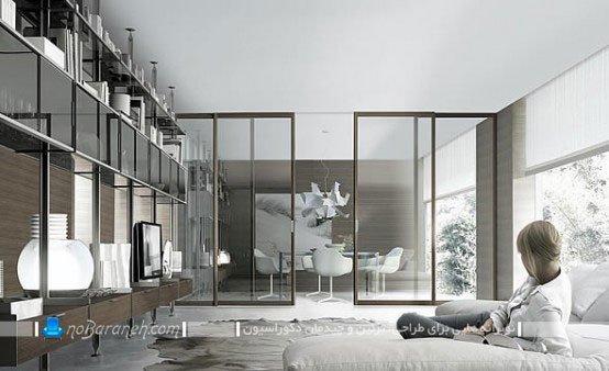 قفسه بندی فلزی و چوبی دیوار اتاق پذیرایی و نشیمن